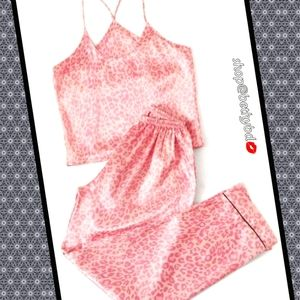 CCO⏬1day ONLY Baby Pink Leopard Satin PJ Set L/XL